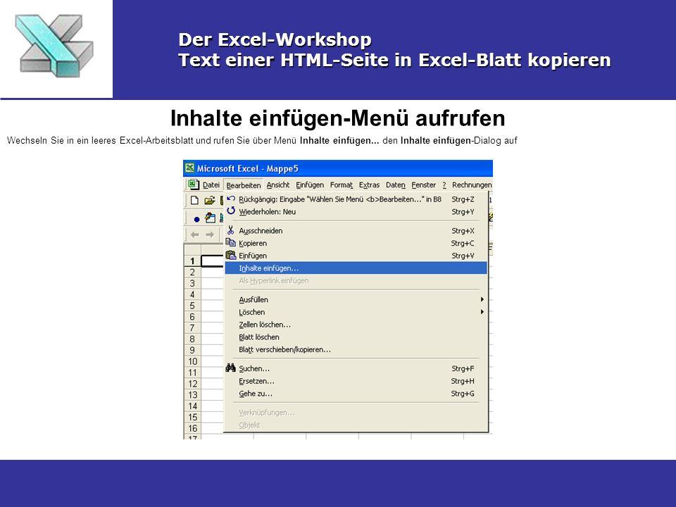 Text einer HTML-Seite in Excel-Blatt kopieren - ppt video online ...