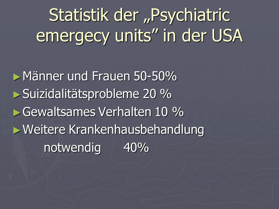 "Statistik der ""Psychiatric emergecy units in der USA"