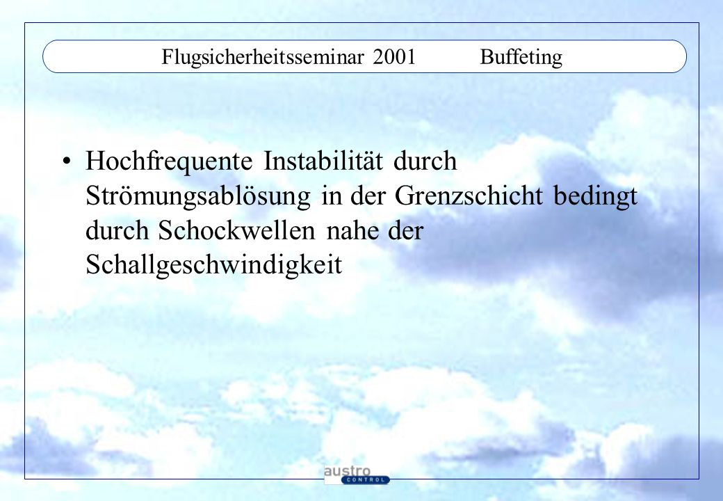 Flugsicherheitsseminar 2001 Buffeting