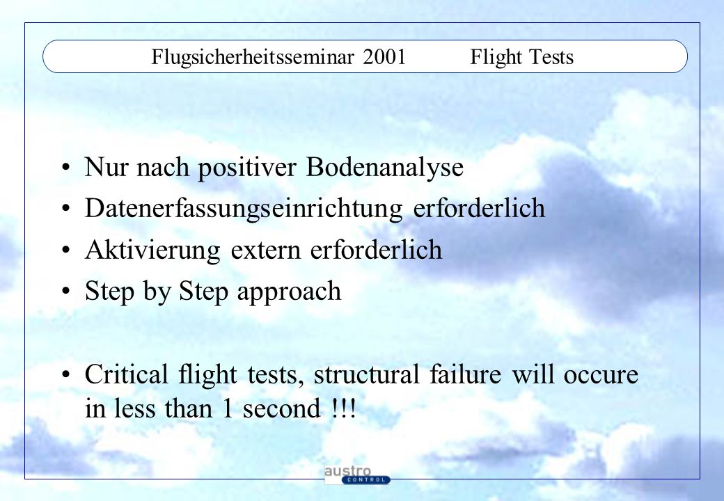 Flugsicherheitsseminar 2001 Flight Tests