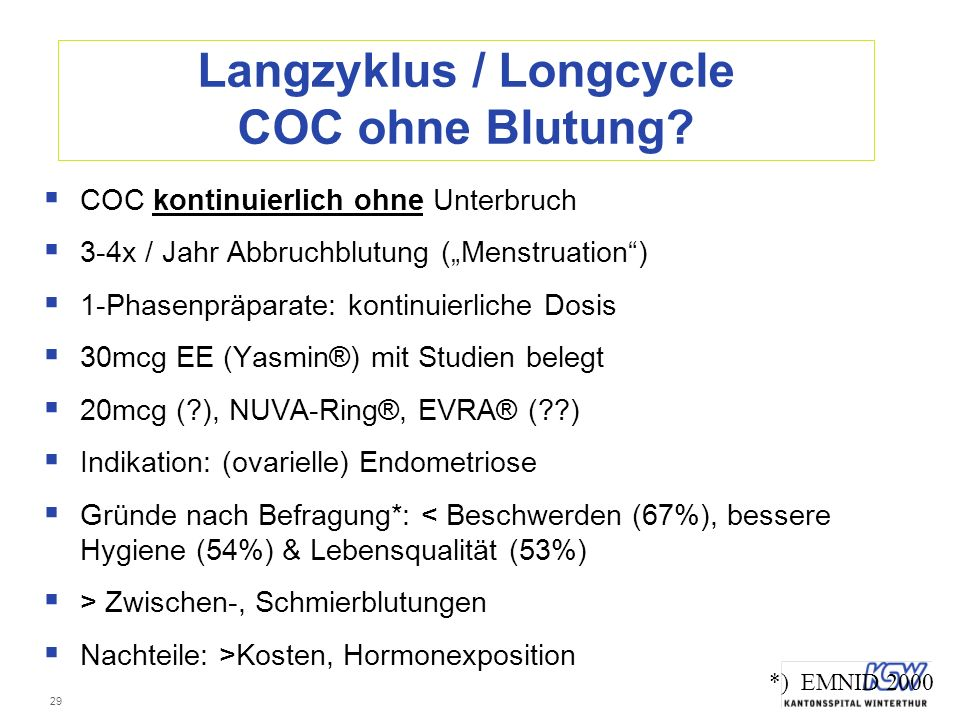 Langzyklus / Longcycle COC ohne Blutung