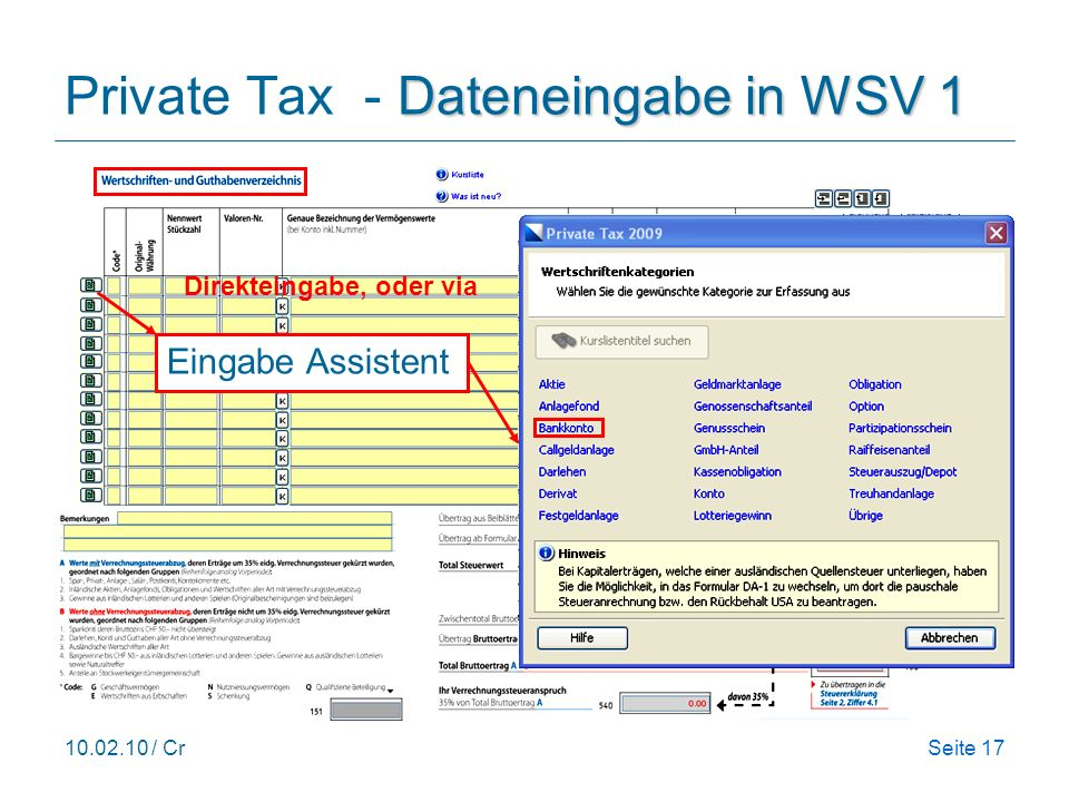 Private Tax - Dateneingabe in WSV 1