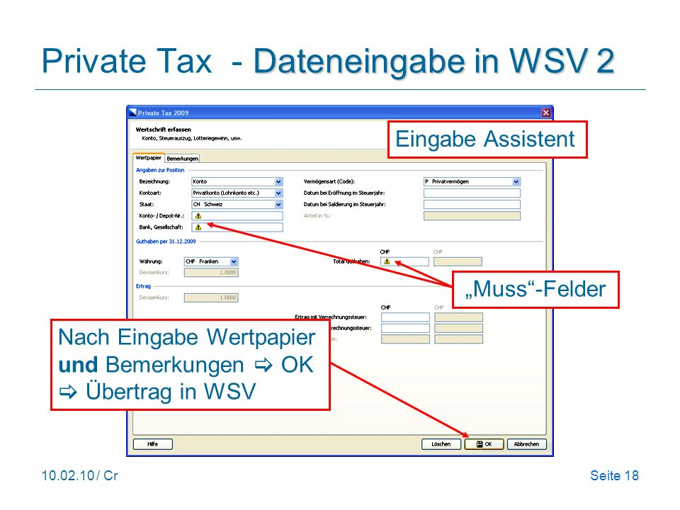 Private Tax - Dateneingabe in WSV 2