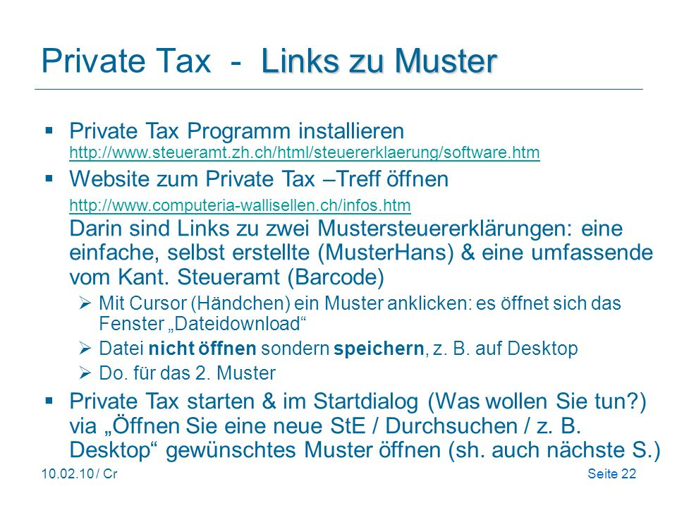 Private Tax - Links zu Muster