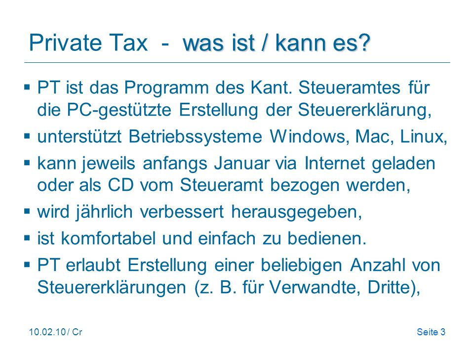 Private Tax - was ist / kann es