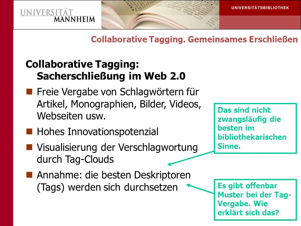 Collaborative Tagging: Sacherschließung im Web 2.0