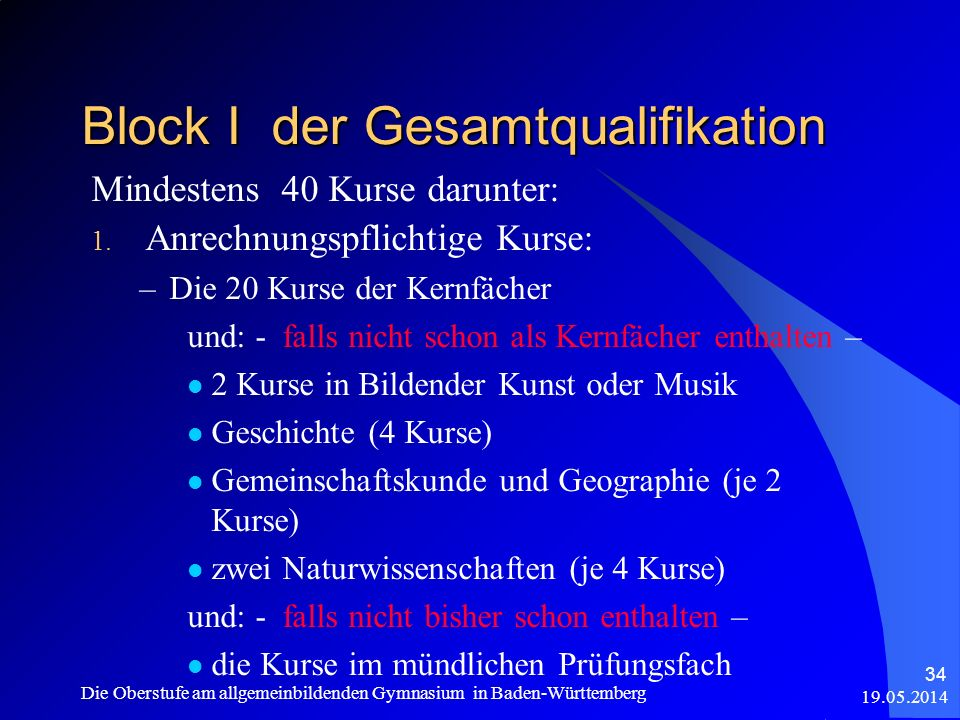 Block I der Gesamtqualifikation