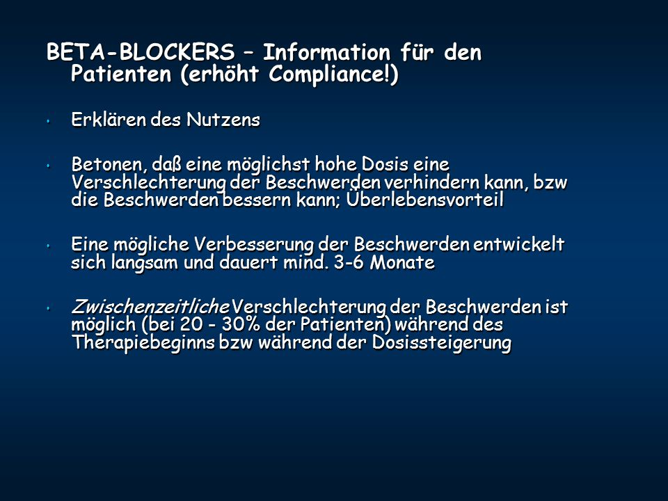 BETA-BLOCKERS – Information für den Patienten (erhöht Compliance!)