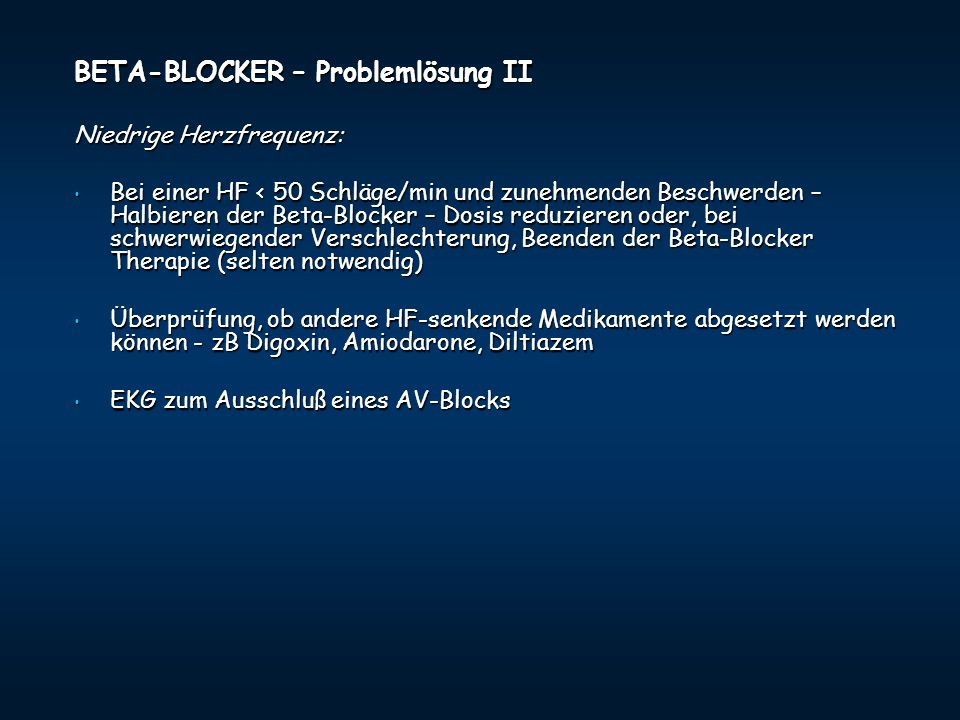 BETA-BLOCKER – Problemlösung II