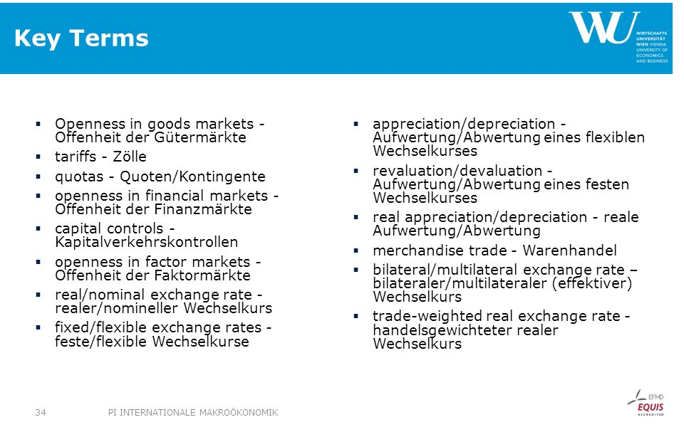 Key Terms Openness in goods markets - Offenheit der Gütermärkte