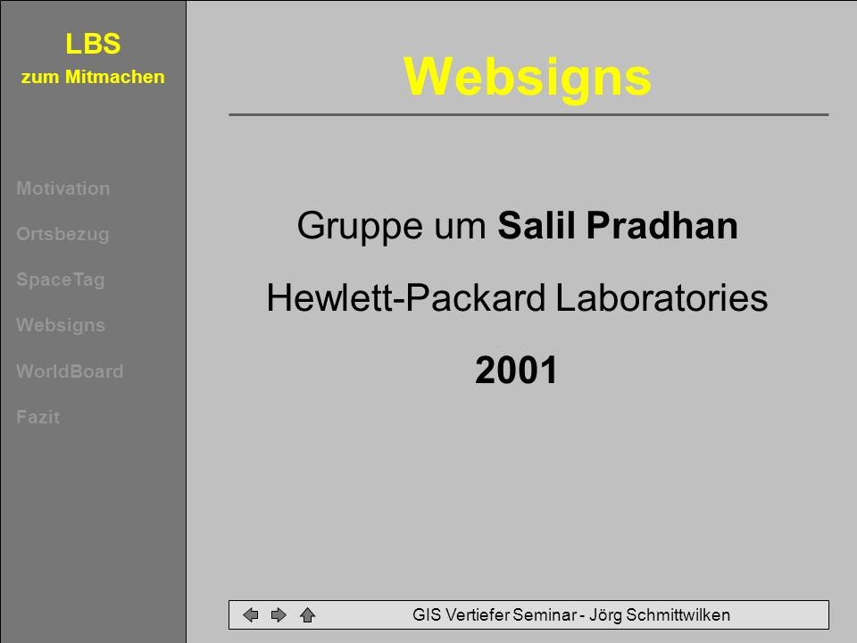 Websigns Gruppe um Salil Pradhan Hewlett-Packard Laboratories 2001