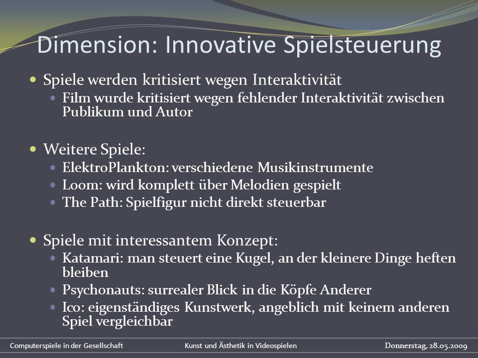 Dimension: Innovative Spielsteuerung