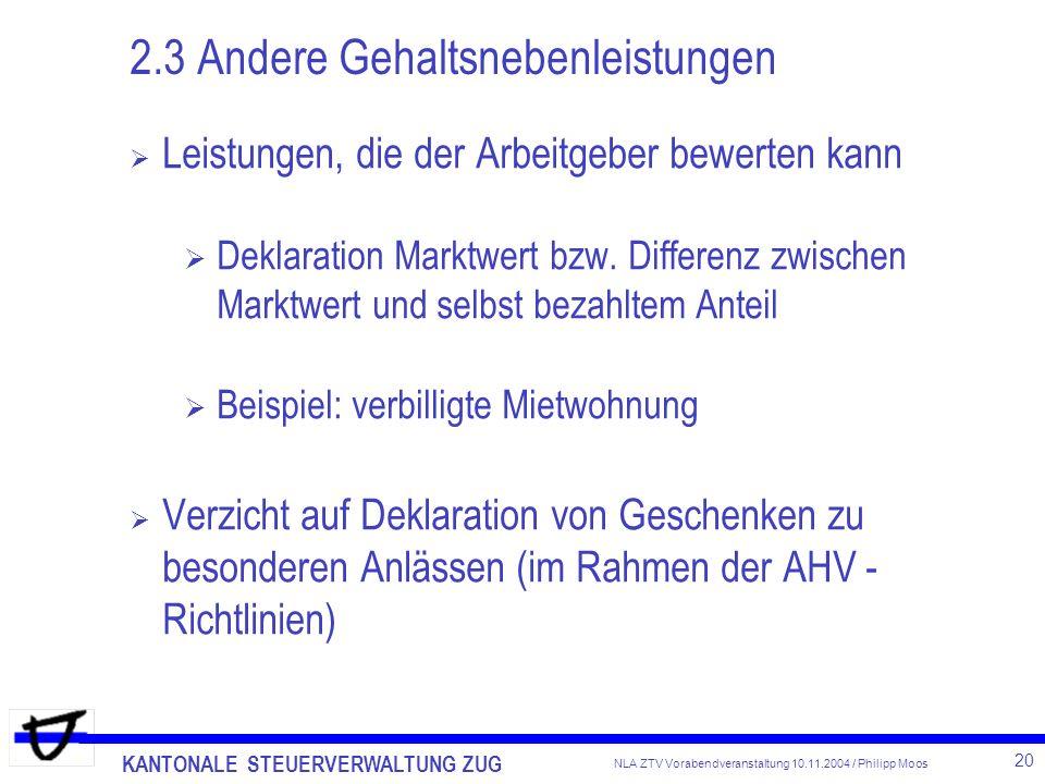 Neuer Lohnausweis Spesenreglemente Kantonale Steuerverwaltung Zug ...