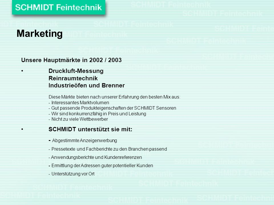 Marketing Unsere Hauptmärkte in 2002 / 2003