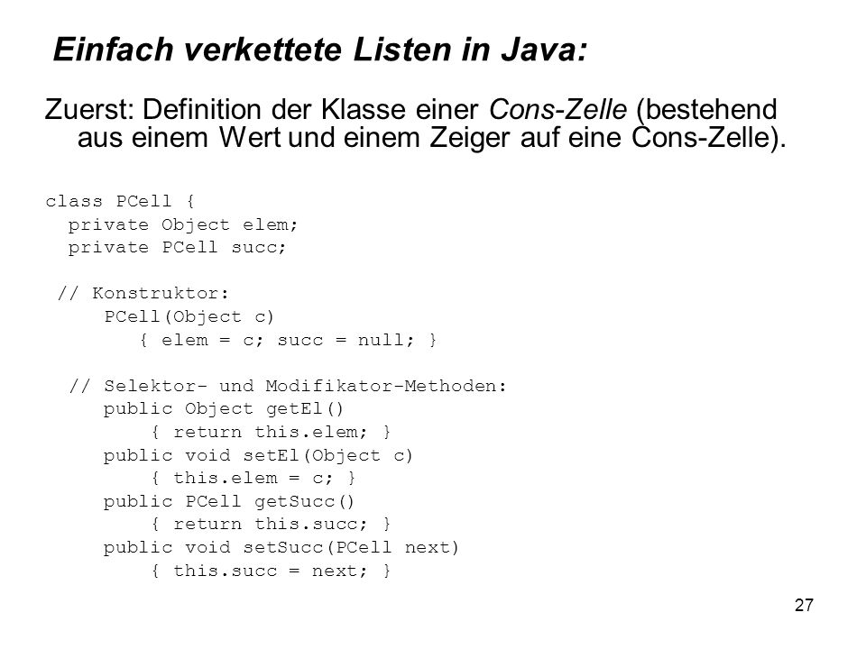 Einfach verkettete Listen in Java: