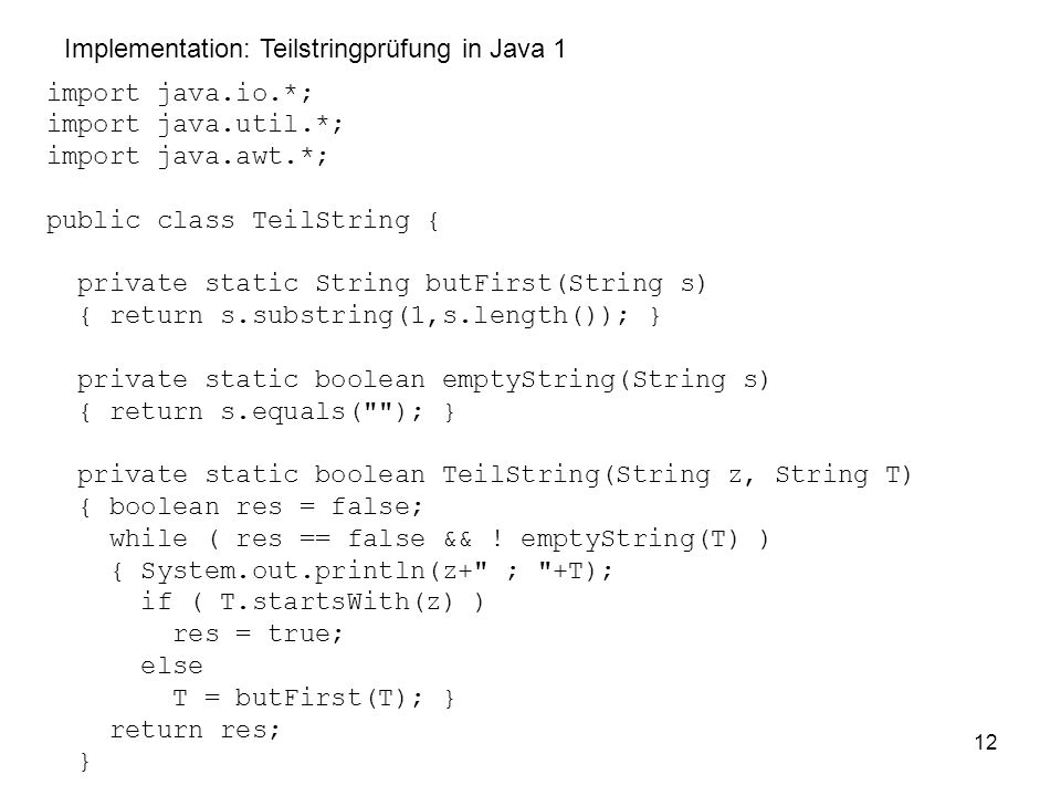 Implementation: Teilstringprüfung in Java 1