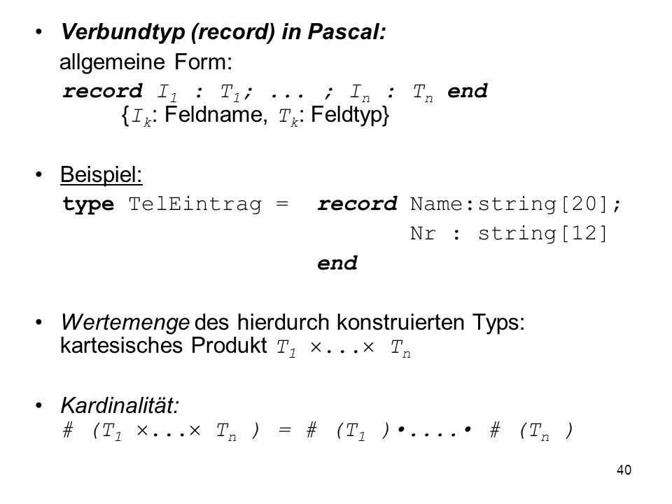 Verbundtyp (record) in Pascal: