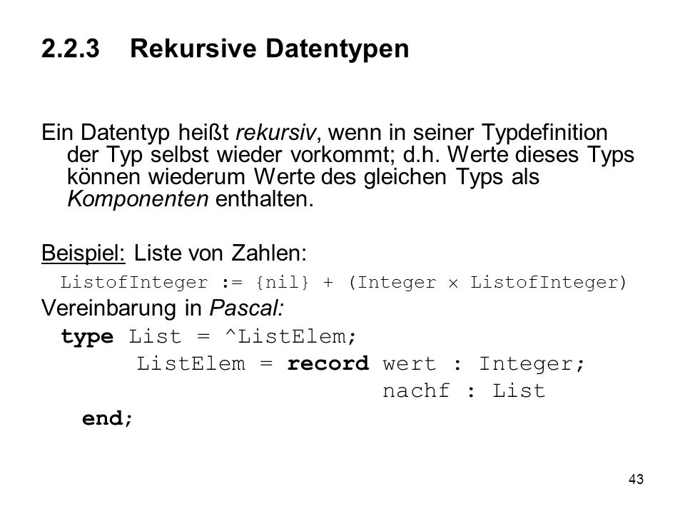 2.2.3 Rekursive Datentypen
