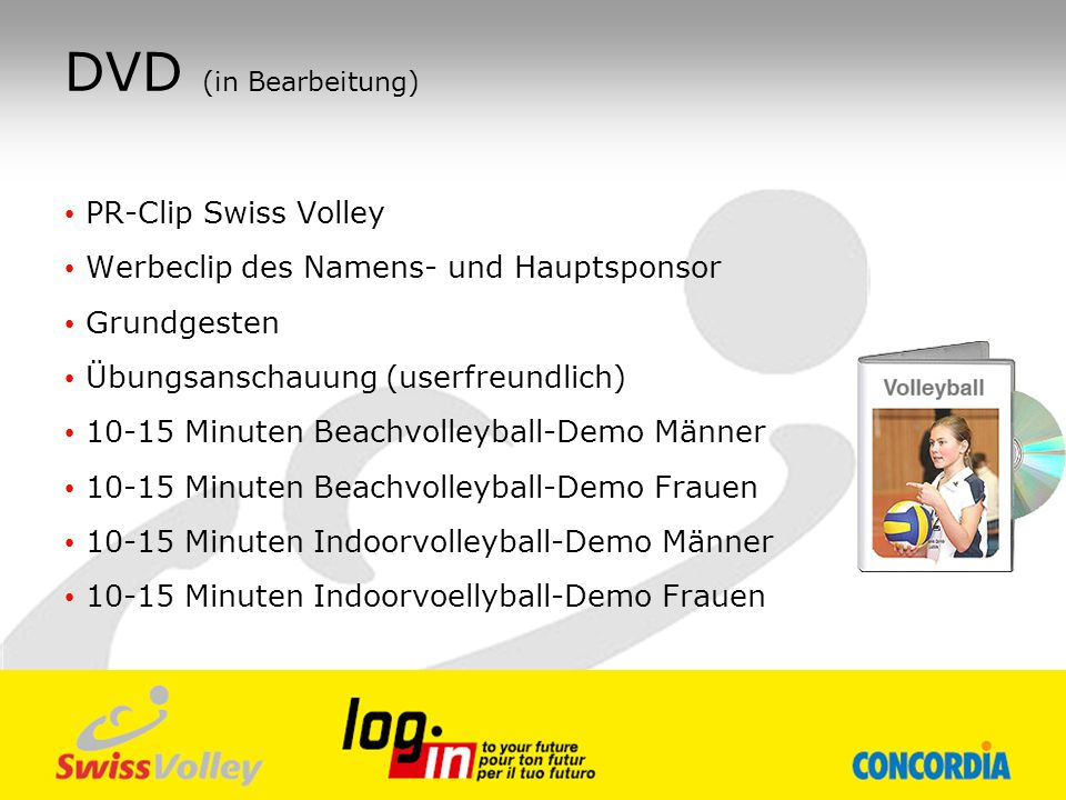 DVD (in Bearbeitung) PR-Clip Swiss Volley