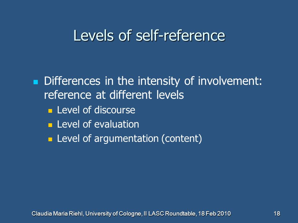 Levels of self-reference
