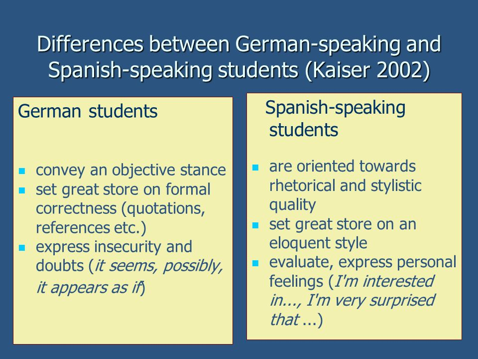 Differences between German-speaking and Spanish-speaking students (Kaiser 2002)