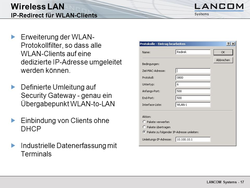 Wireless LAN IP-Redirect für WLAN-Clients