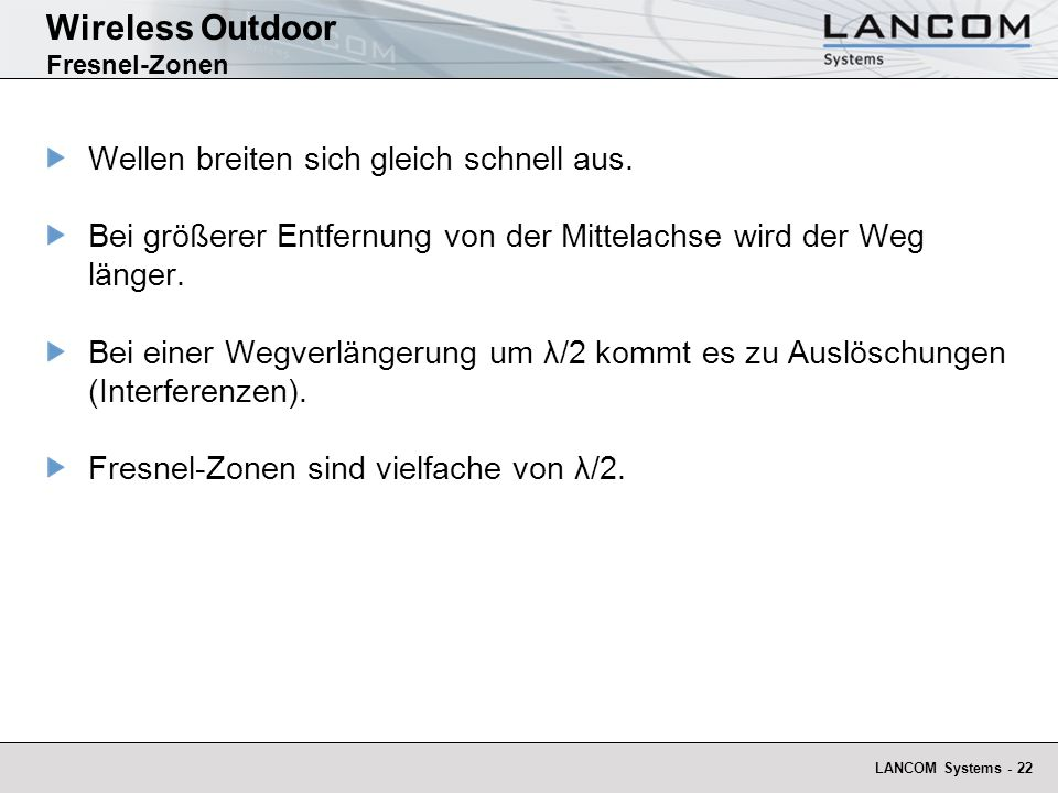 Wireless Outdoor Fresnel-Zonen
