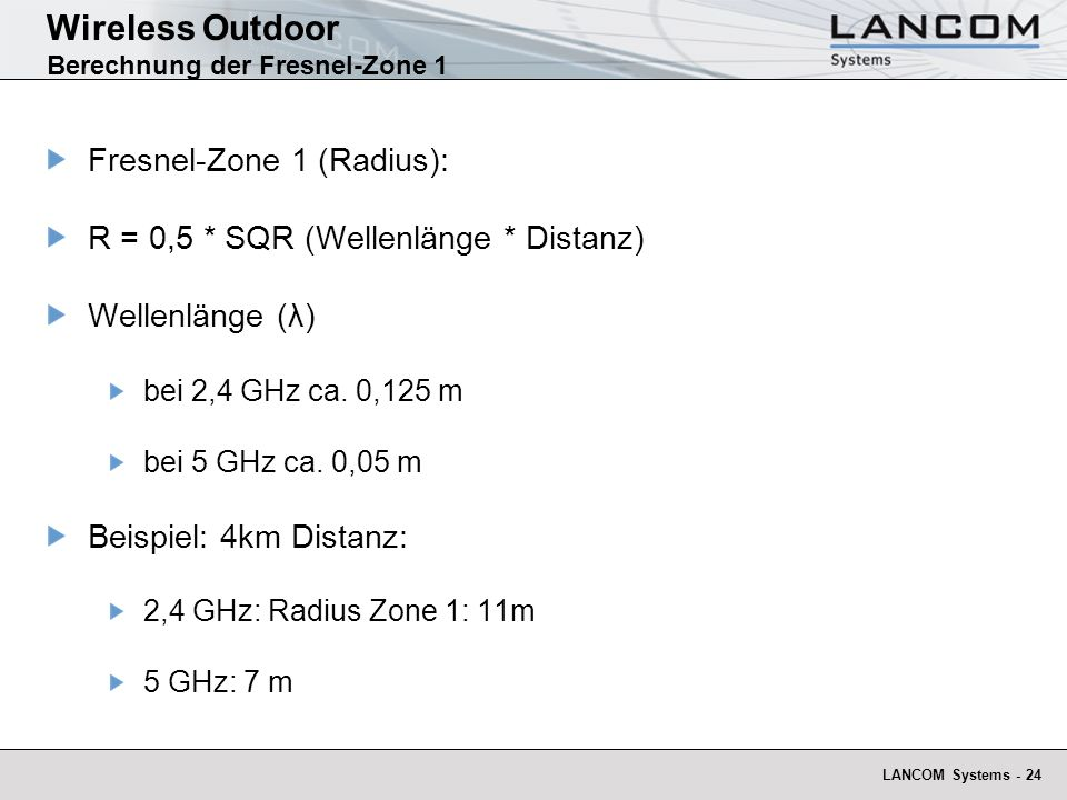 Wireless Outdoor Berechnung der Fresnel-Zone 1