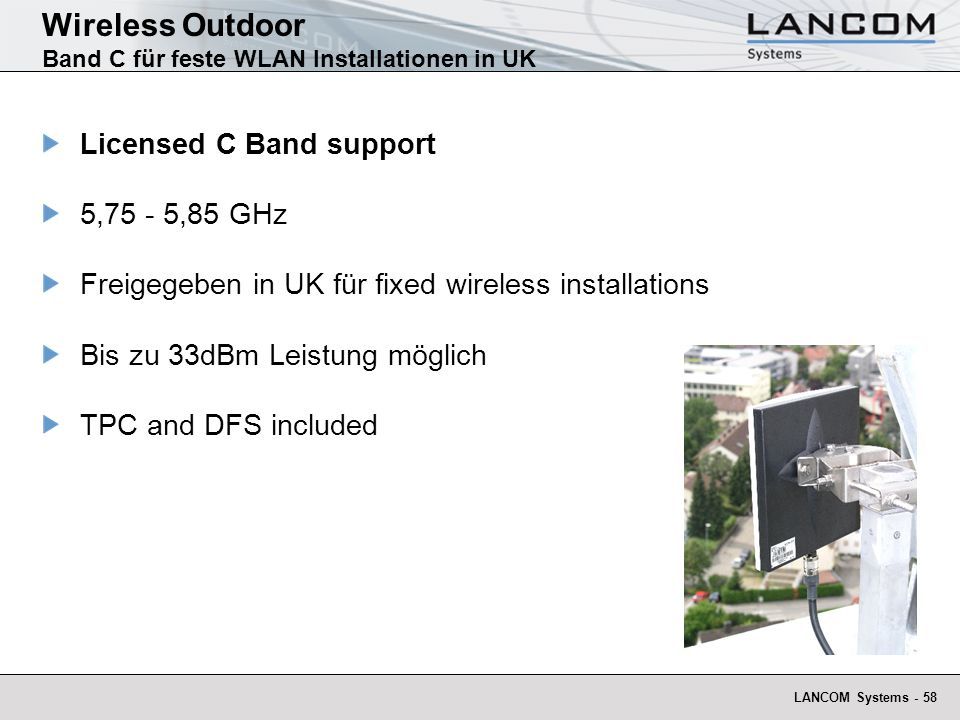 Wireless Outdoor Band C für feste WLAN Installationen in UK