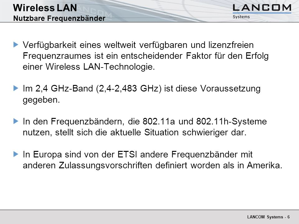 Wireless LAN Nutzbare Frequenzbänder