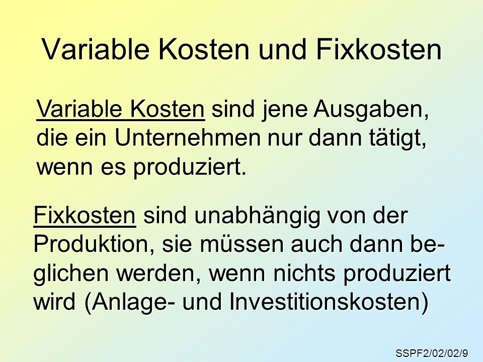 Variable Kosten und Fixkosten