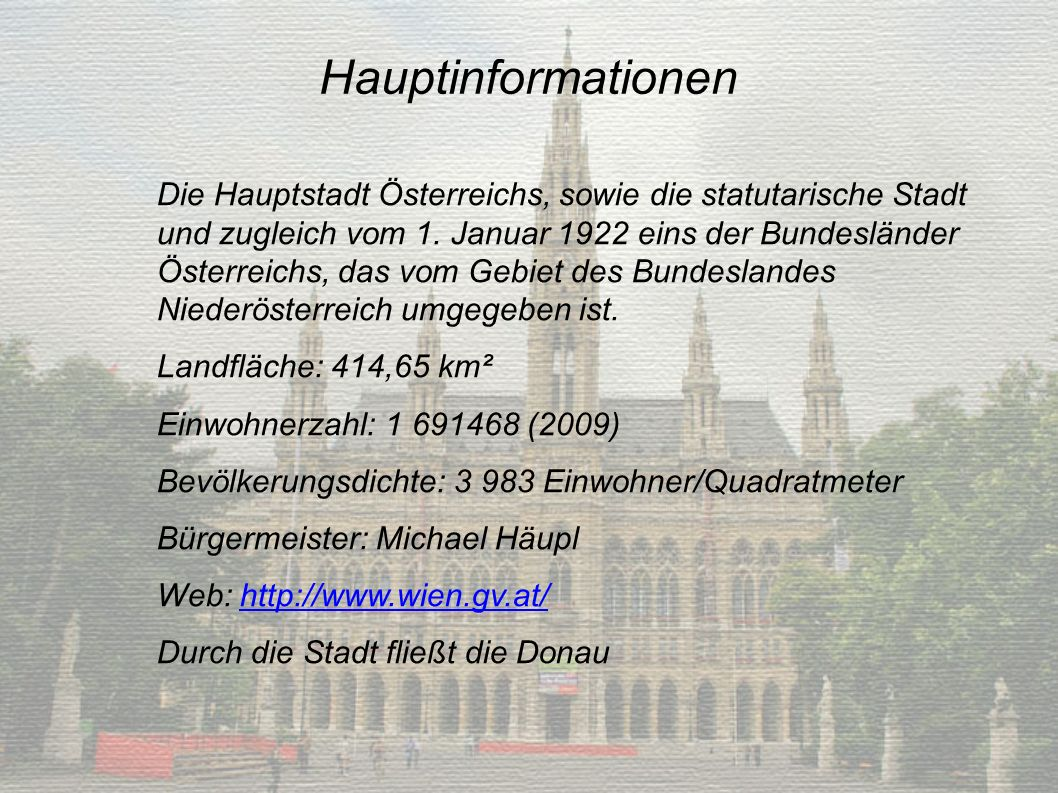 Hauptinformationen