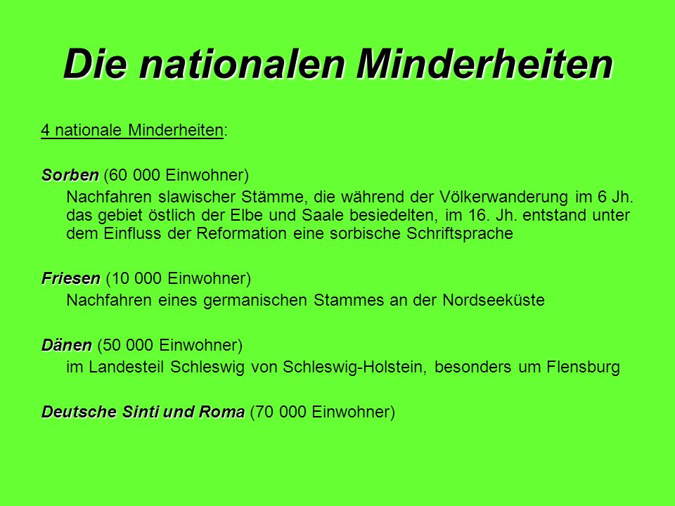 Die nationalen Minderheiten