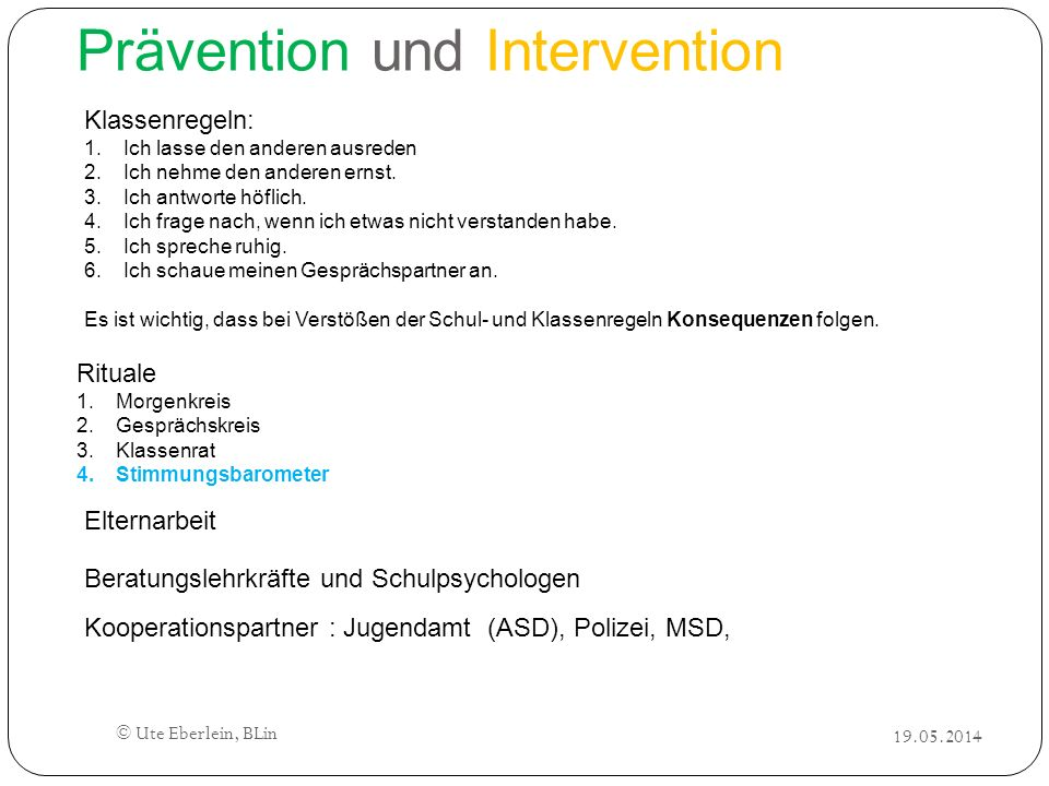 Prävention und Intervention
