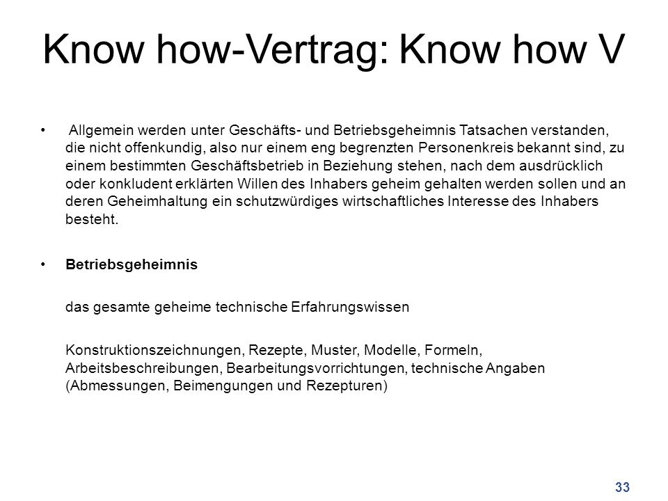 Know how-Vertrag: Know how V