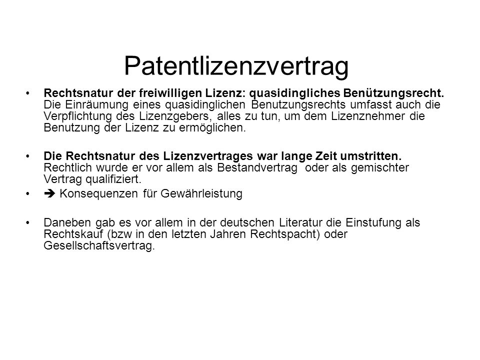Patentlizenzvertrag