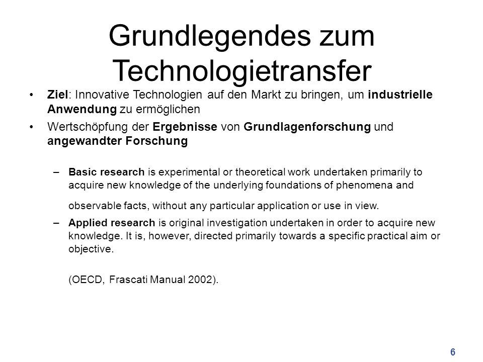 Grundlegendes zum Technologietransfer