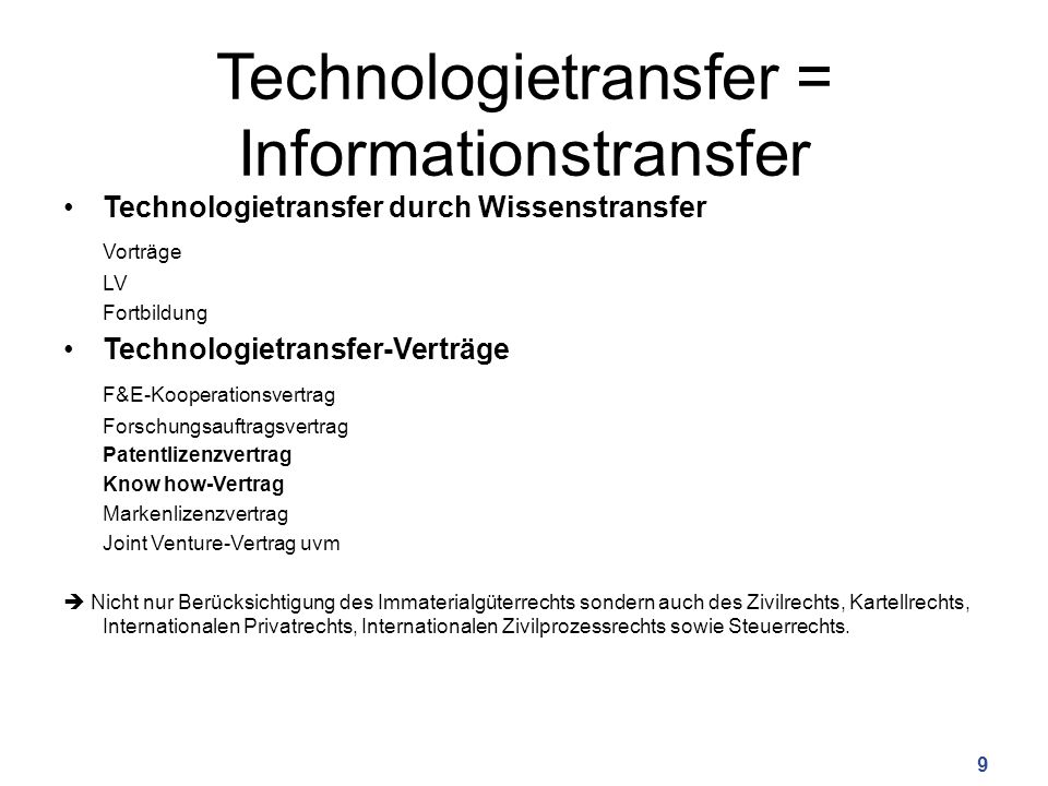 Technologietransfer = Informationstransfer