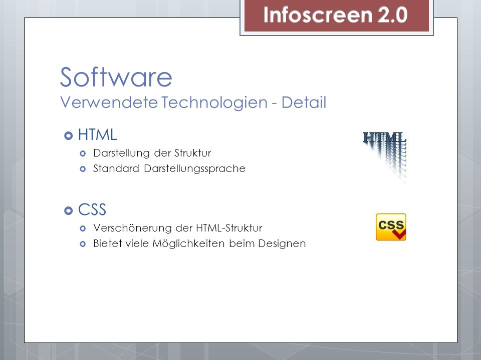 Software Verwendete Technologien - Detail