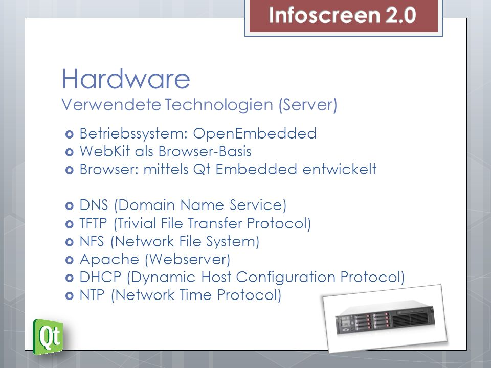 Hardware Verwendete Technologien (Server)