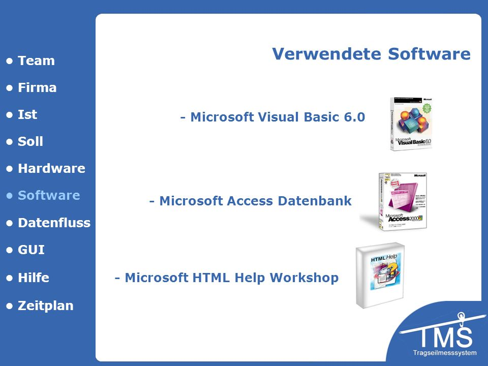 Verwendete Software • Team • Firma • Ist - Microsoft Visual Basic 6.0