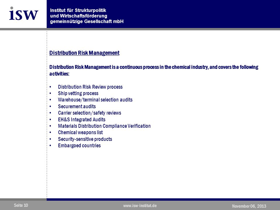 Distribution Risk Management