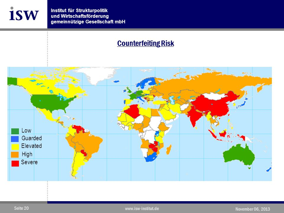 Counterfeiting Risk Low Guarded Elevated High Severe