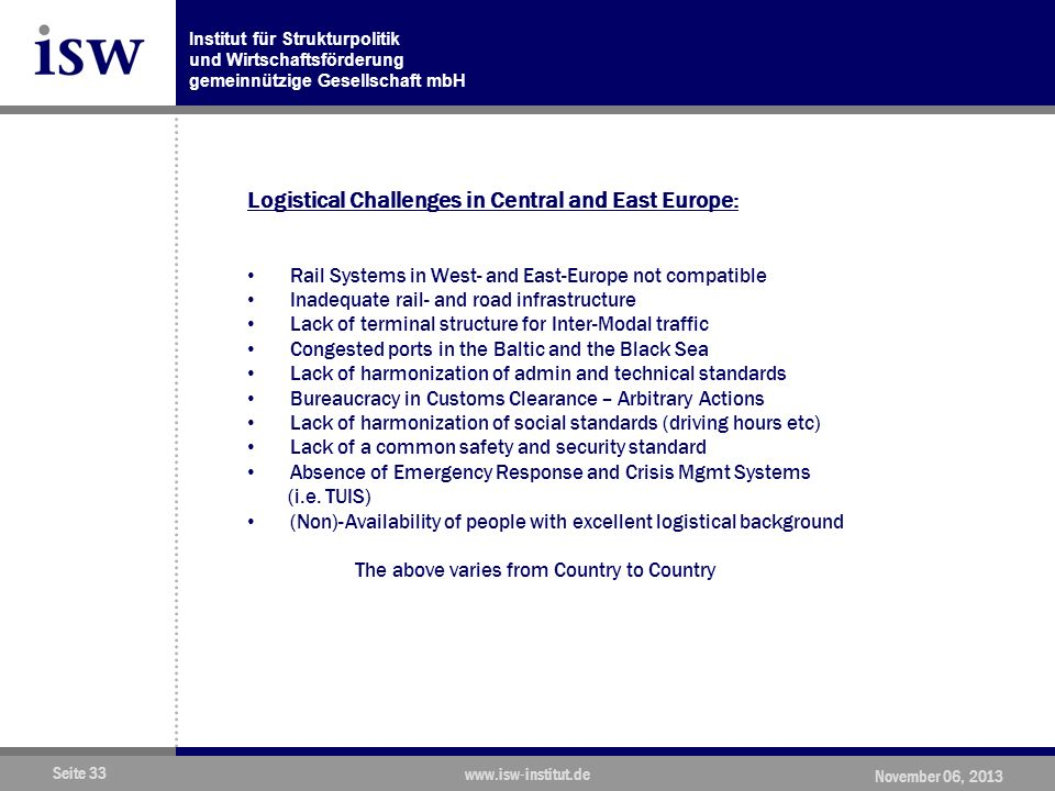 Logistical Challenges in Central and East Europe: