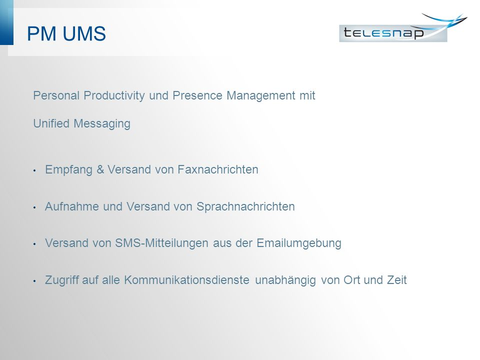 PM UMS Personal Productivity und Presence Management mit