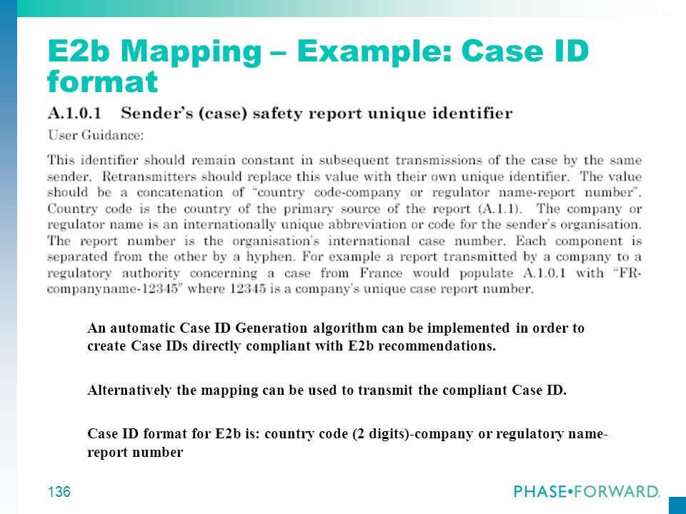 E2b Mapping – Example: Case ID format