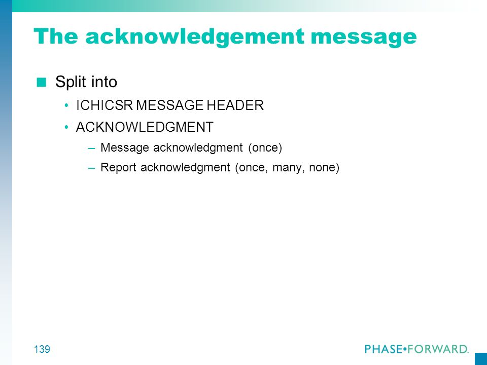 The acknowledgement message