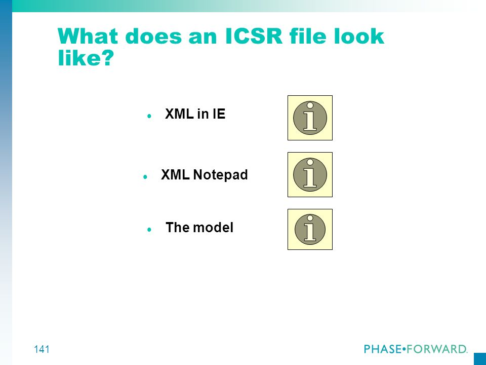 What does an ICSR file look like
