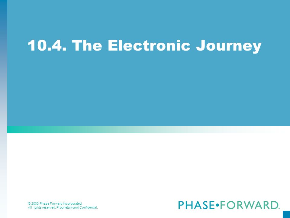 10.4. The Electronic Journey