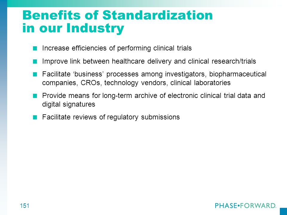 Benefits of Standardization in our Industry